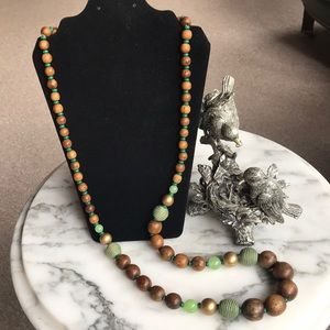 Wooden Bead and Faux Jade Bead Necklace